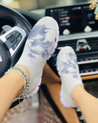 Abstract Painting Printing Round-toe Sneakers