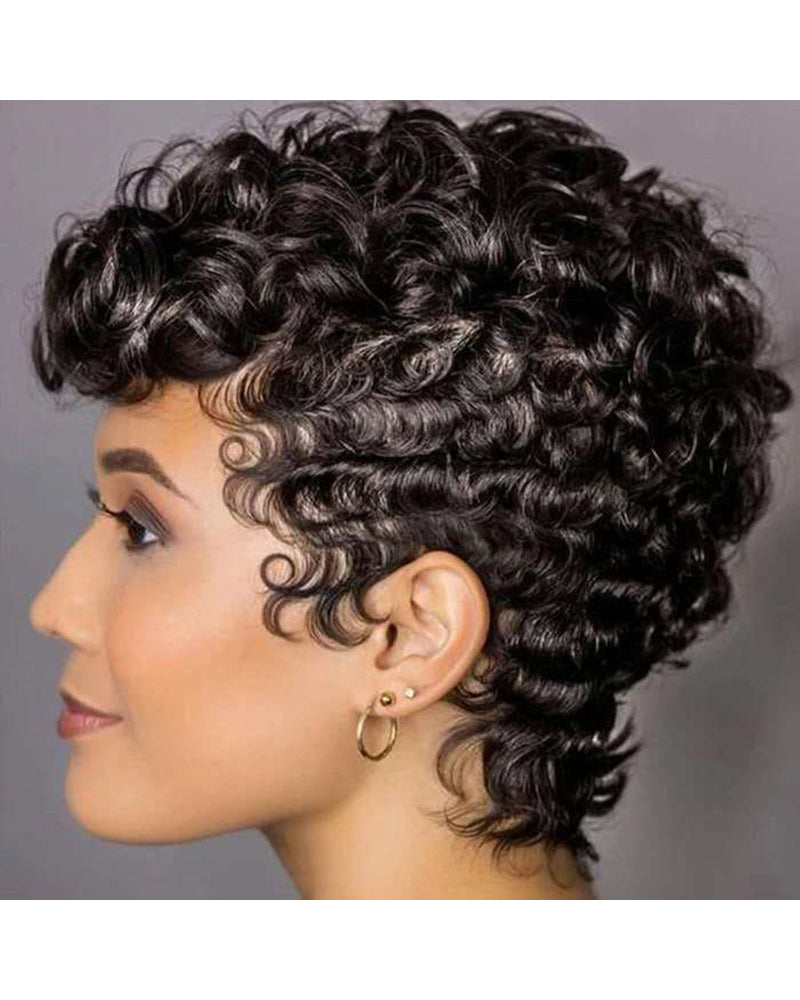 Women Black Short Full Wavy Wig Stylish Natural Curly Hair Wigs High Temperature Wire Wig