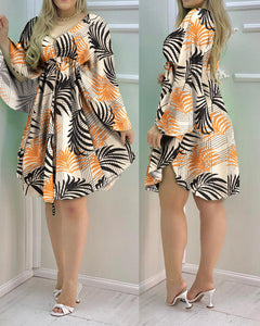 Tropical Print Cape Sleeve Ruched Dress