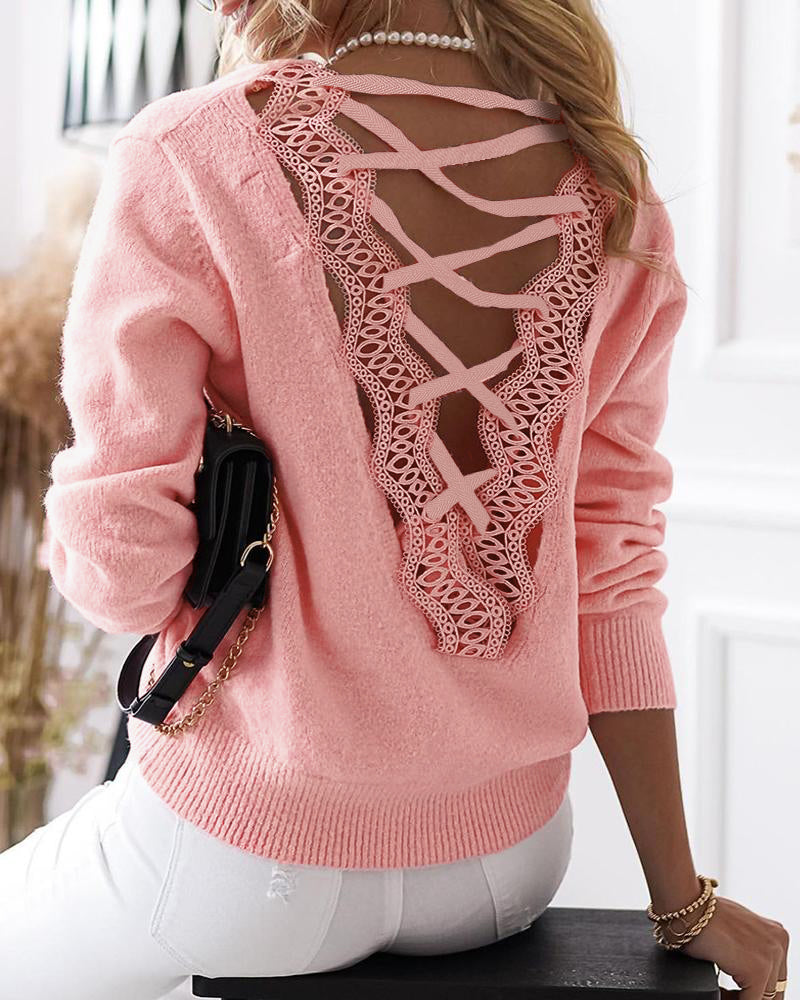 Strappy Guipure Lace Plain Sweater
