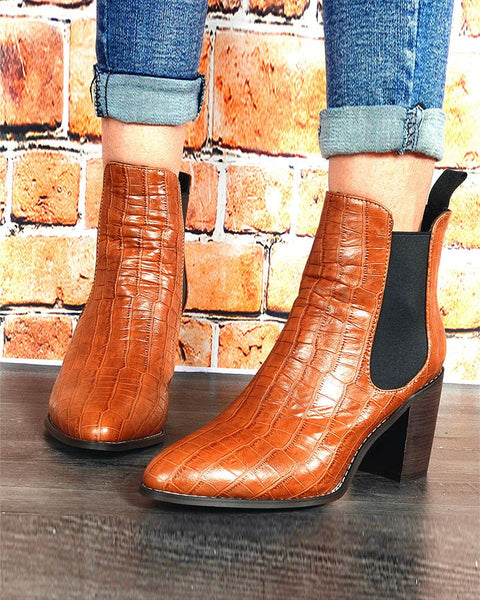 Solid Pointed Toe Block Heel Ankle Boots