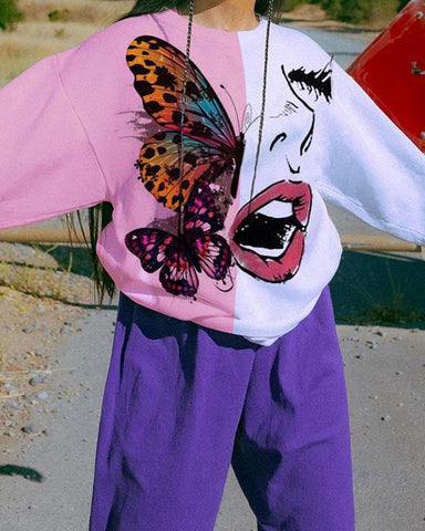 Woman With Butterfly Print Long Sleeve Coorblock Sweatshirts