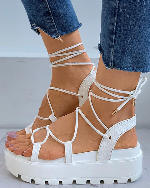 Lace-up Cutout Muffin Sandals