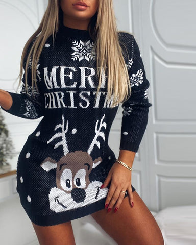 Christmas Reindeer Letter Print Knit Sweater Dress