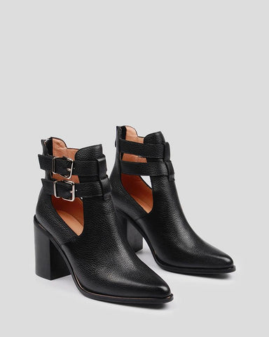Soild Pointed Toe Cut-out Double Bandages Ankle Boots
