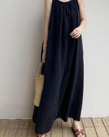 Solid Sleeveless Strap Loose Overall Long Dress