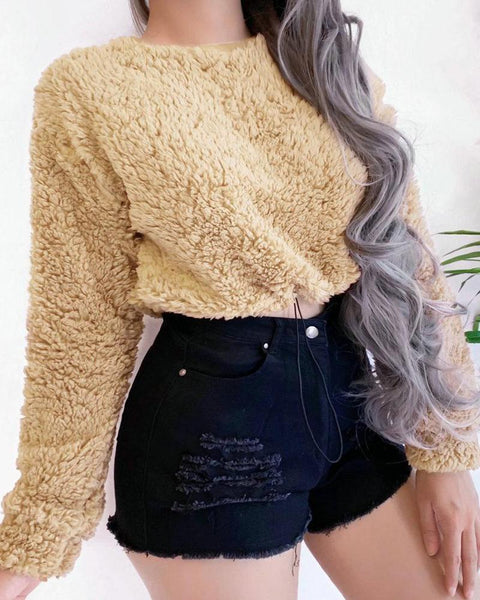 Long Sleeve Teddy Crop Top