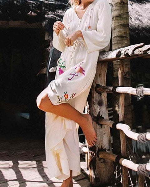 Cotton Embroidered Poly-cut blouse & Beach Smock & Long Dress