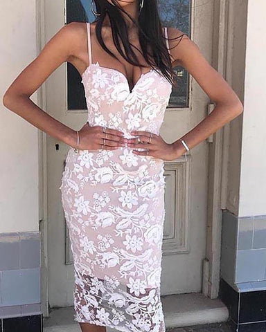 Sweetheart Neck Embroidery Lace Slip Dress