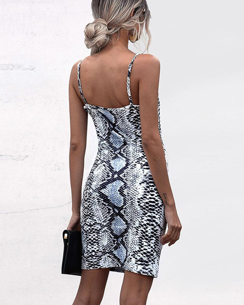 Snakeskin Slip Sleeveless Mini Dress
