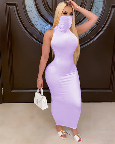 Solid Sleeveless Maxi Dress With Face Cover