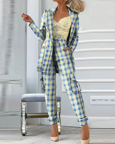 Plaid Blazer Coat & Drawstring Pants Set