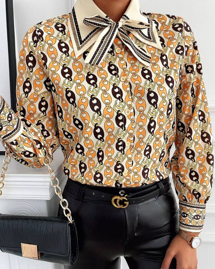 Tie Neck Graphic Print Long Sleeve Blouse