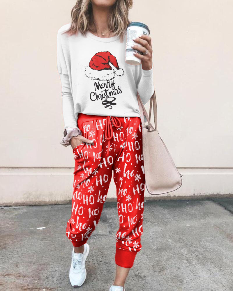 Christmas Long Sleeve Top & Drawstring Pocket Design Pants Set