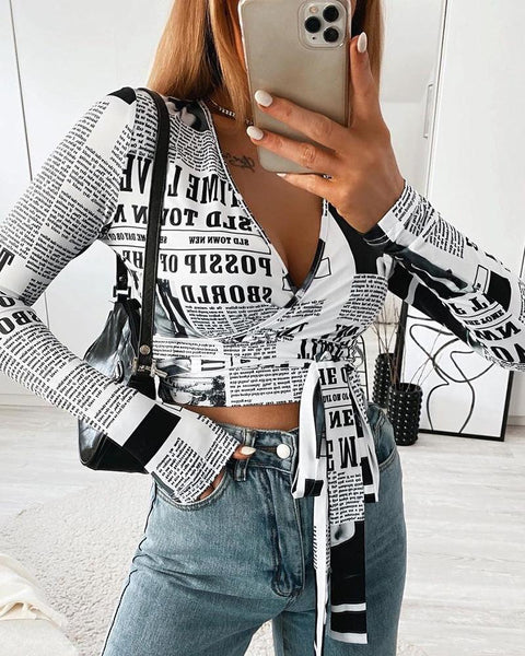 Letter Print Tie Detail Long Sleeve Crop Top