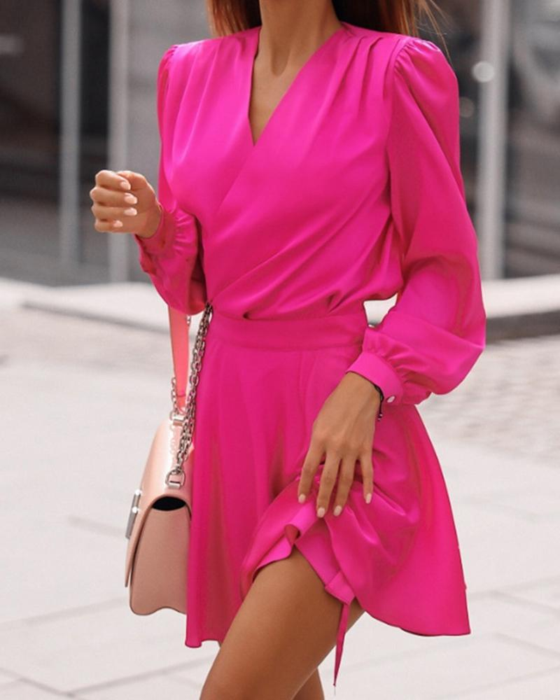 Solid Color Puff Sleeve Mini Dress