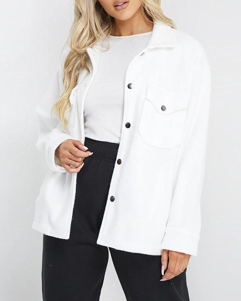 Solid Color Long Sleeve Single-breasted Coat