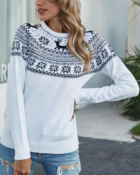 Christmas Reindeer Long Sleeve Loose Sweater