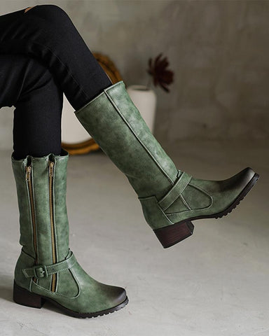 Solid Color Round-toe Buckle Mid Boots
