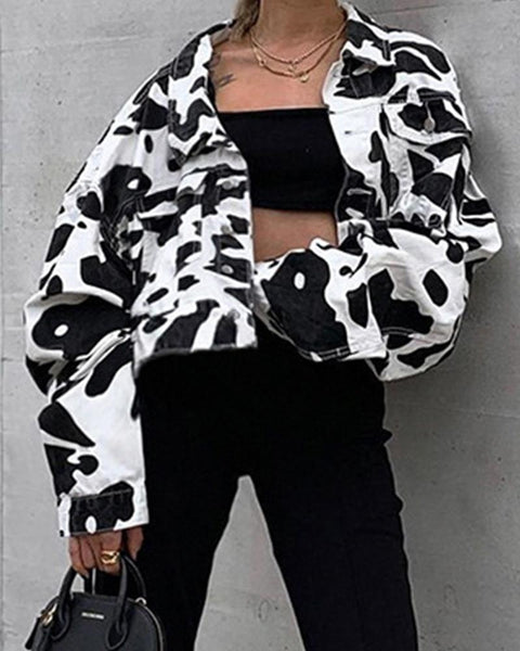 Dairy Print Long Sleeve Cropped Jackets