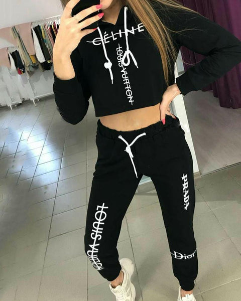 Letter Printing Long Sleeve Hooded Sweatpants Sets