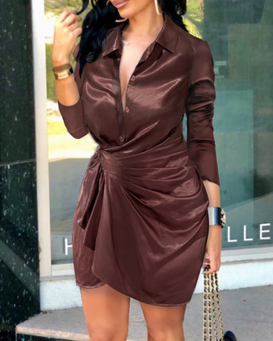 Satin Button Front Ruched Shirt Dress