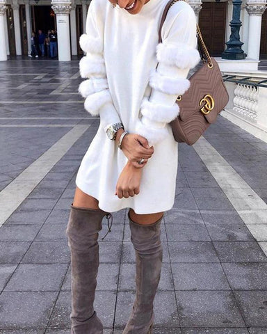 Faux Fur Panel Sleeve Mini Dress