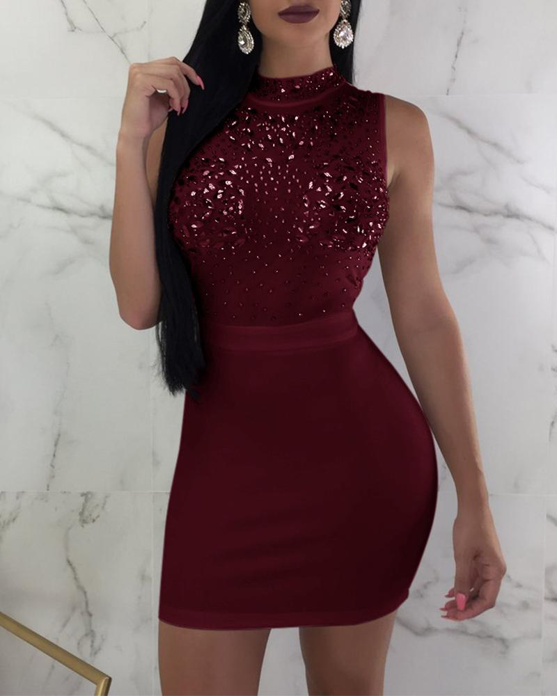 Solid Color Hot Stamping Bodycon Mini Dress
