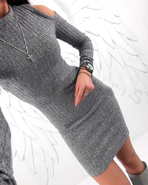Solid Cold Shoulder Bodycon Dress