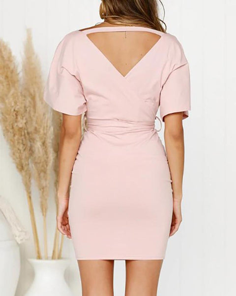 Surplice Wrap Cutout Back Belted Dress