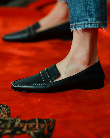 Rivet Embellished Square Toe Loafers