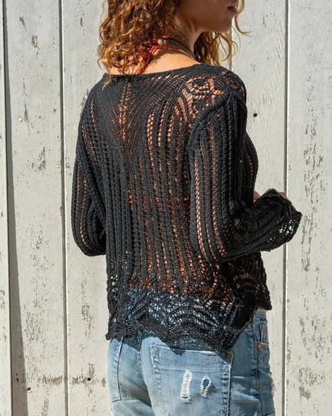 Knitted Solid Hollow Out Long Sleeve Top
