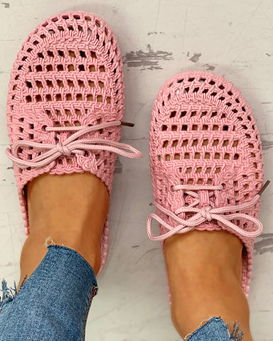 Hollow Out Lace-Up Closed Toe Slipper