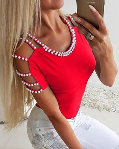 Beaded Embellished Cold Shoulder Top