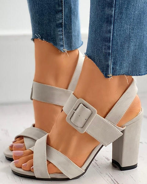 Peep Toe Buckled Block Heel Sandals