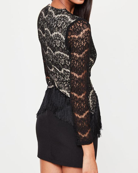 Eyelash Lace Tassel Embellished Party Dress