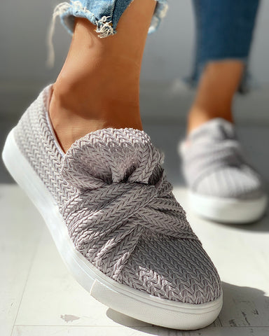 Solid Design Casual Flat Shoes
