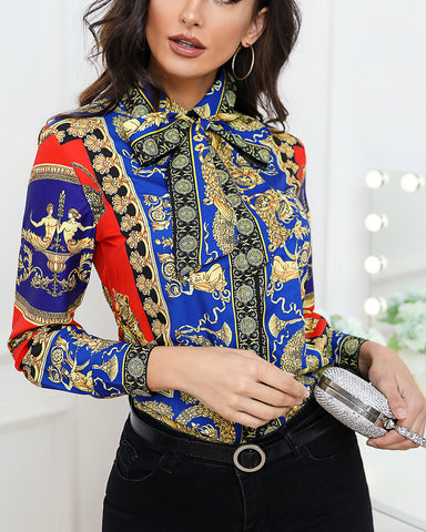 Retro Ethnic Print Long Sleeve Shirt
