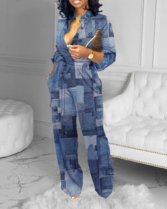 Patchwork Print Button Design Wide Leg Jumpsuit