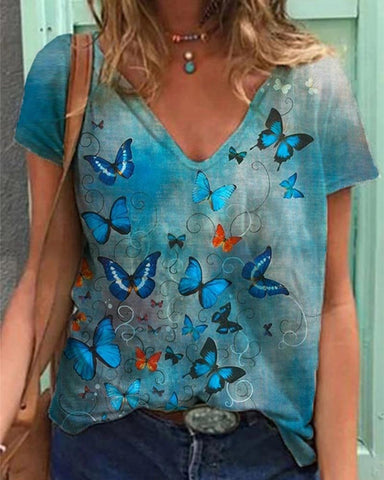 Butterfly Printing Short Sleeve T-shirt