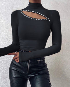 Cutout Plain Long Sleeve Top