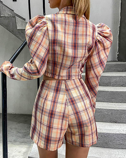 Plaid Puffed Sleeve Blazer Coat & Shorts Set