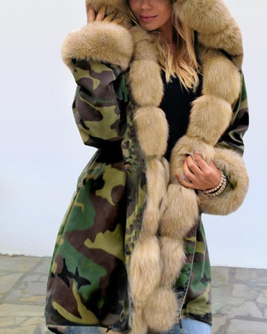 Hooded Camo Print Winter Coat