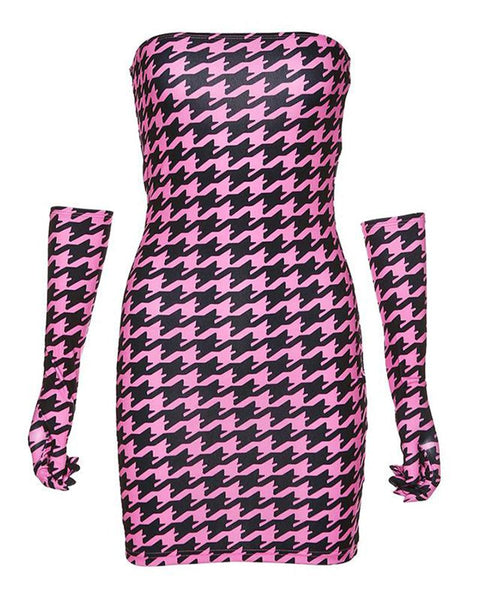 Houndstooth Tube Mini Dress With Gloves