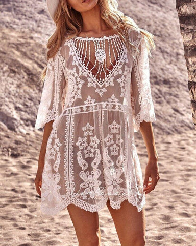 Lace Mesh Loose Fit Cover Up
