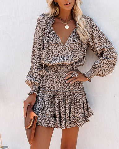 Cheetah Print Ruffles Long Sleeve Dress