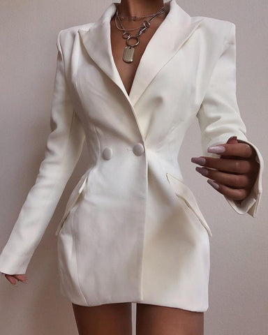Solid Long Sleeve Buttoned Design Blazer Dress