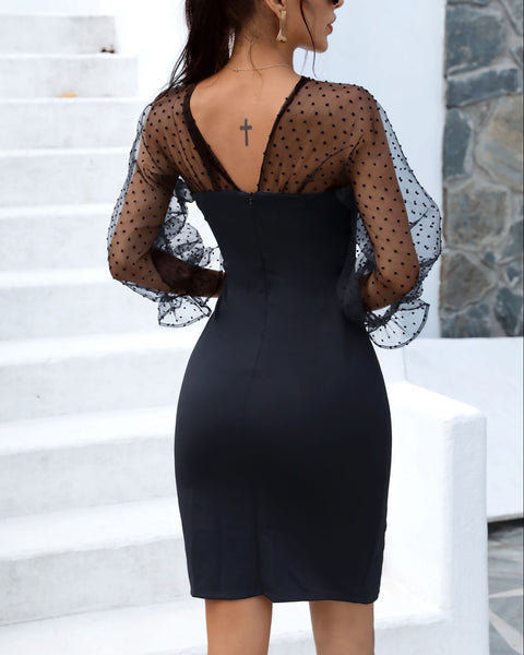 Dot Sheer Mesh Bowknot Decor Slit Dress