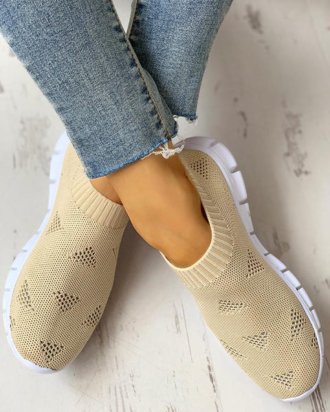 Net Surface Breathable Knitting Casual Shoes
