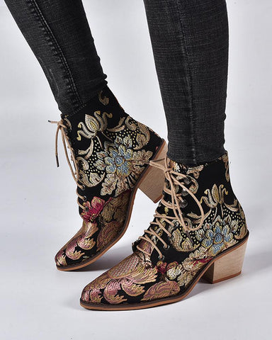 Floral Embroidery Lace Up Bootie